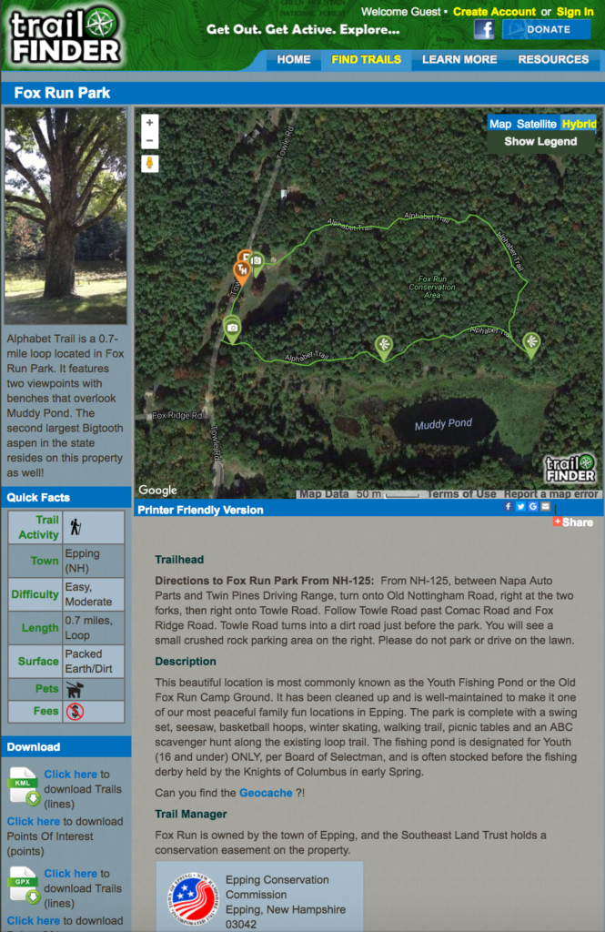 The TrailFinder page for Fox Run Park in Epping, NH