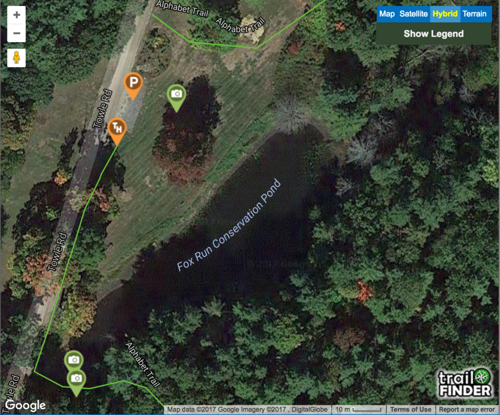 A close-up showing the trail head at Fox Run Park in TrailFinder